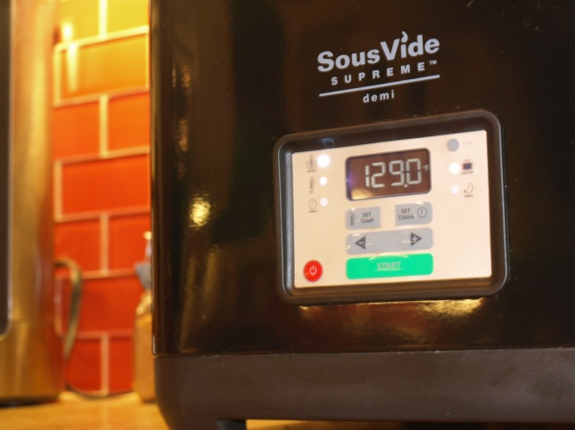 Sous Vide Supreme has a home on my countertop.